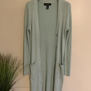 Long Line Teal Ribbed Cardigan with Pockets